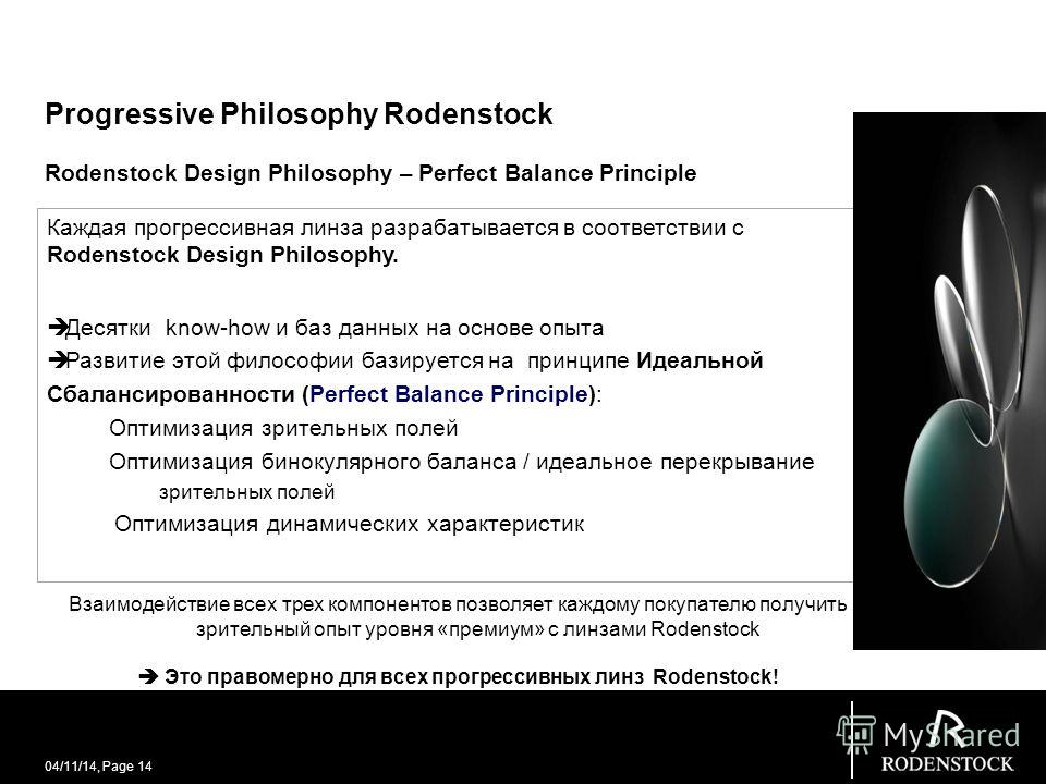 04/11/14, Page 14 Progressive Philosophy Rodenstock Rodenstock Design Philosophy – Perfect Balance Principle Каждая прогрессивная линза разрабатывается в соответствии с Rodenstock Design Philosophy. Десятки know-how и баз данных на основе опыта Разви