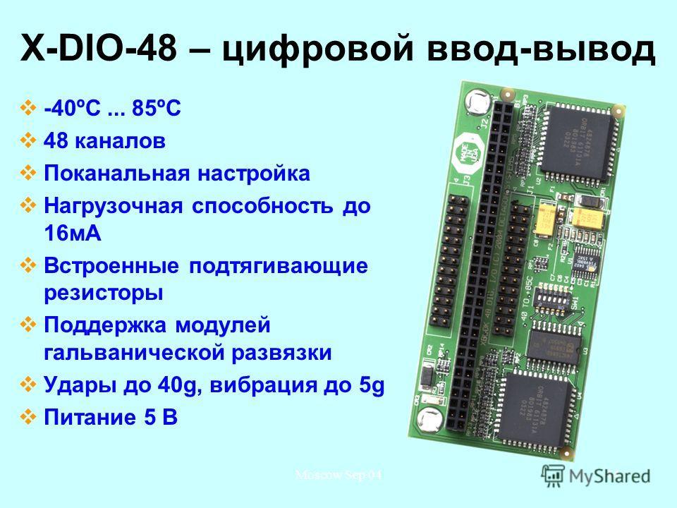 Moscow Sep 0444 X-DIO-48 – цифровой ввод-вывод -40ºС... 85ºС 48 каналов Поканальная настройка Нагрузочная способность до 16 мА Встроенные подтягивающие резисторы Поддержка модулей гальванической развязки Удары до 40g, вибрация до 5g Питание 5 В