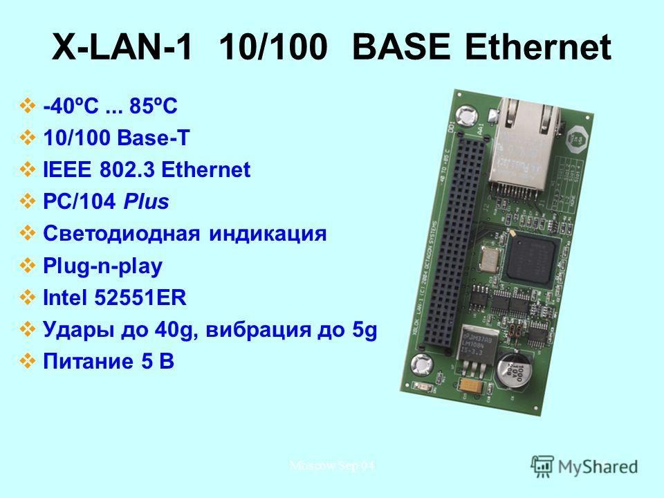 Moscow Sep 0445 X-LAN-1 10/100 BASE Ethernet -40ºС... 85ºС 10/100 Base-T IEEE 802.3 Ethernet PC/104 Plus Светодиодная индикация Plug-n-play Intel 52551ER Удары до 40g, вибрация до 5g Питание 5 В