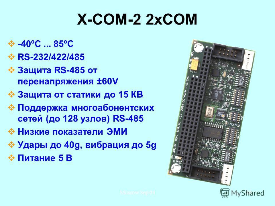 Moscow Sep 0446 X-COM-2 2 хСОМ -40ºС... 85ºС RS-232/422/485 Защита RS-485 от перенапряжения ±60V Защита от статики до 15 КВ Поддержка многоабонентских сетей (до 128 узлов) RS-485 Низкие показатели ЭМИ Удары до 40g, вибрация до 5g Питание 5 В