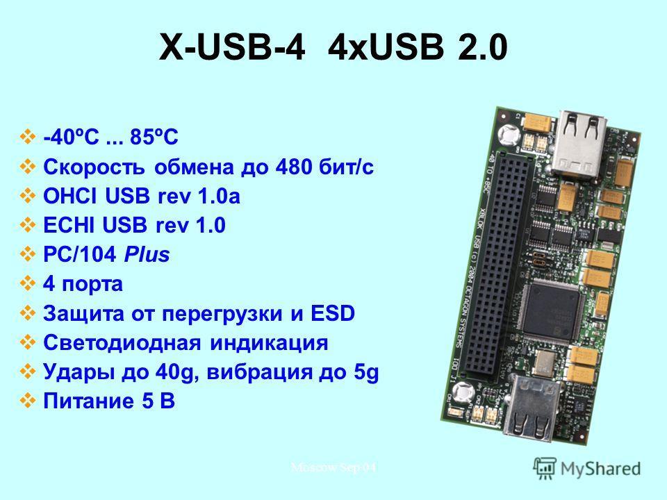 Moscow Sep 0448 X-USB-4 4 хUSB 2.0 -40ºС... 85ºС Скорость обмена до 480 бит/с OHCI USB rev 1.0a ECHI USB rev 1.0 PC/104 Plus 4 порта Защита от перегрузки и ESD Светодиодная индикация Удары до 40g, вибрация до 5g Питание 5 В