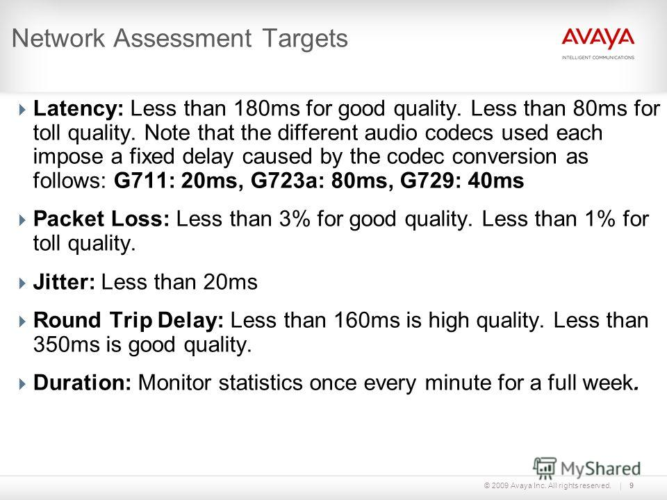 © 2009 Avaya Inc. All rights reserved.9 Network Assessment Targets Latency: Less than 180ms for good quality. Less than 80ms for toll quality. Note that the different audio codecs used each impose a fixed delay caused by the codec conversion as follo