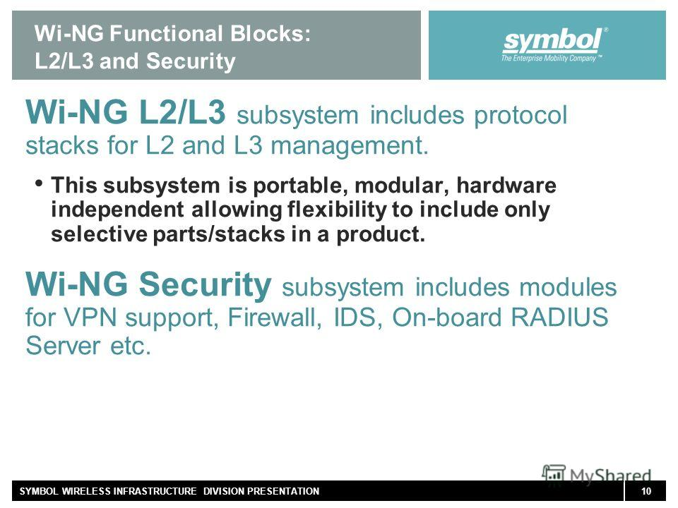 10SYMBOL WIRELESS INFRASTRUCTURE DIVISION PRESENTATION Wi-NG Functional Blocks: L2/L3 and Security Wi-NG L2/L3 subsystem includes protocol stacks for L2 and L3 management. This subsystem is portable, modular, hardware independent allowing flexibility