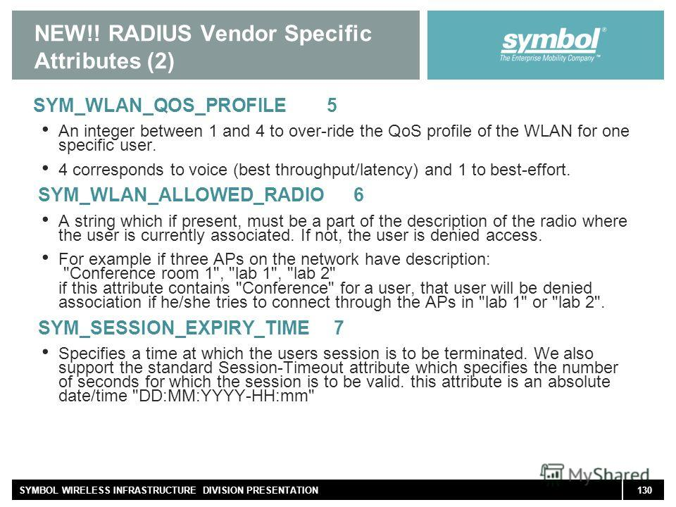 130SYMBOL WIRELESS INFRASTRUCTURE DIVISION PRESENTATION NEW!! RADIUS Vendor Specific Attributes (2) SYM_WLAN_QOS_PROFILE 5 An integer between 1 and 4 to over-ride the QoS profile of the WLAN for one specific user. 4 corresponds to voice (best through