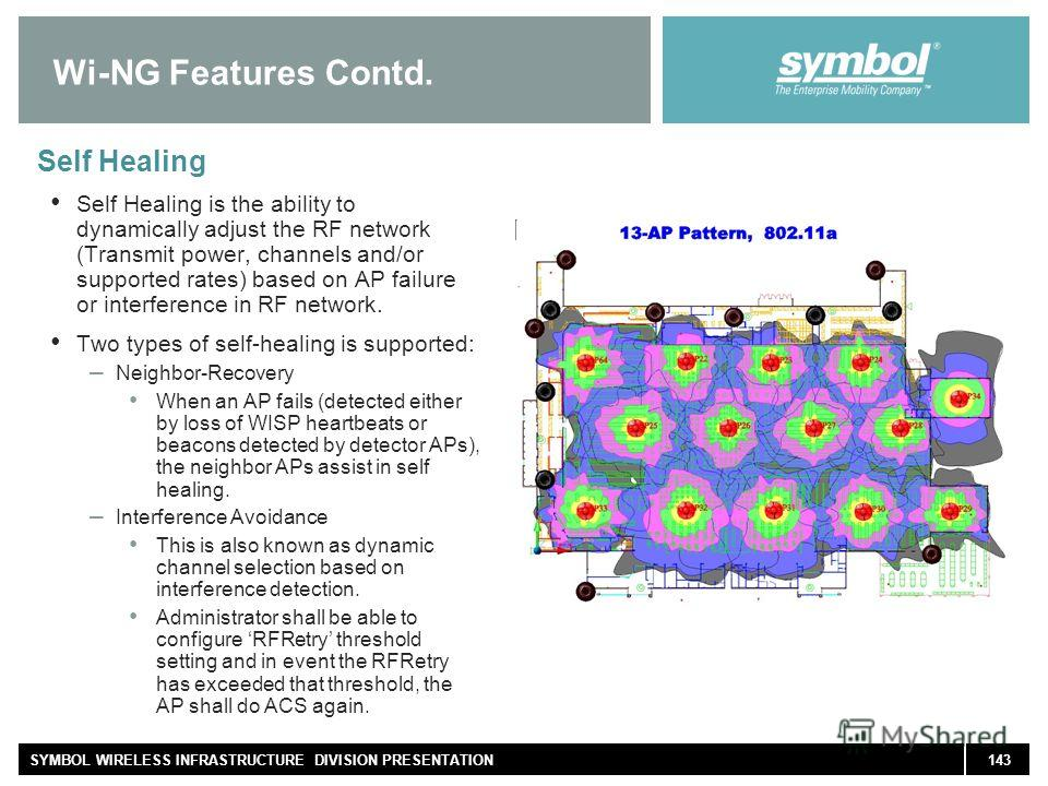 143SYMBOL WIRELESS INFRASTRUCTURE DIVISION PRESENTATION Wi-NG Features Contd. Self Healing Self Healing is the ability to dynamically adjust the RF network (Transmit power, channels and/or supported rates) based on AP failure or interference in RF ne