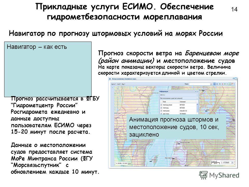 Прикладные услуги ЕСИМО. Обеспечение гидрометбезопасности мореплавания 14 Навигатор по прогнозу штормовых условий на морях России Навигатор – как есть Анимация прогноза штормов и местоположение судов, 10 сек, зациклено Прогноз скорости ветра на Барен