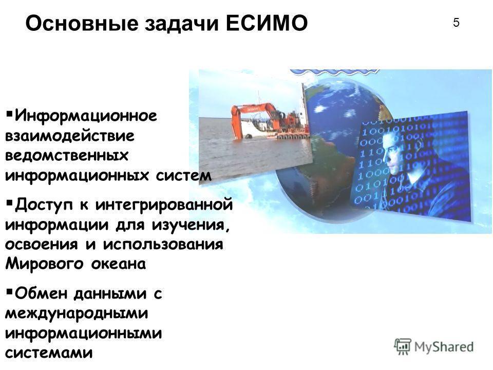 Основные задачи ЕСИМО Информационное взаимодействие ведомственных информационных систем Доступ к интегрированной информации для изучения, освоения и использования Мирового океана Обмен данными с международными информационными системами 5