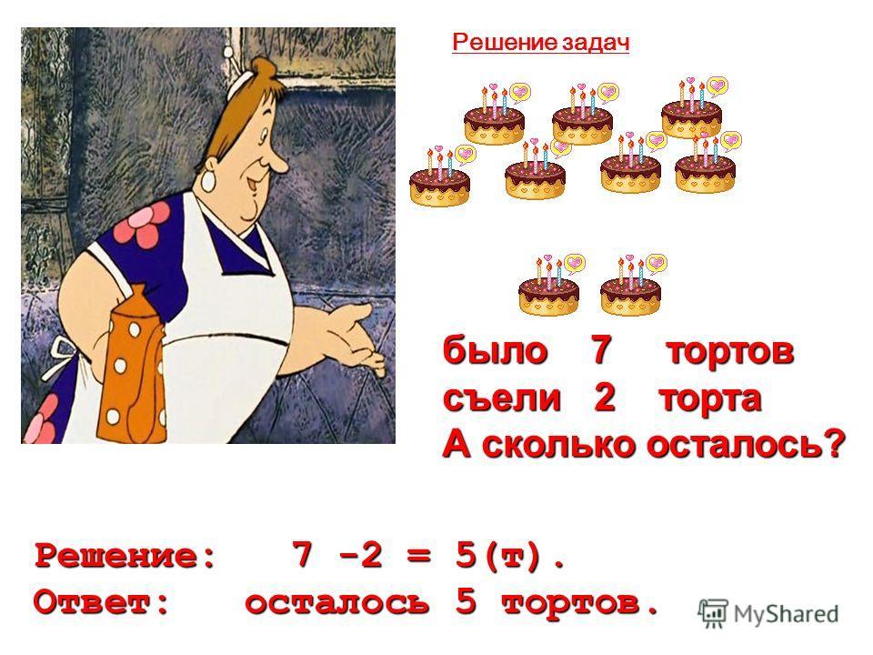 было 7 тортов съели 2 торта А сколько осталось? Решение: 7 -2 = 5(т). Ответ: осталось 5 тортов. Решение задач