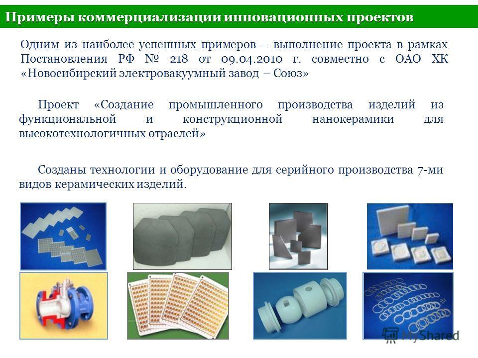 Примеры коммерциализации инновационных проектов 17 Проект «Создание промышленного производства изделий из функциональной и конструкционной нанокерамики для высокотехнологичных отраслей» Созданы технологии и оборудование для серийного производства 7-м