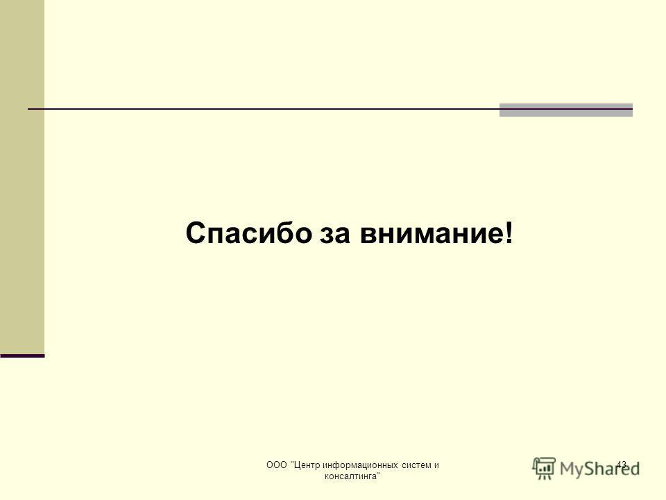 ООО Центр информационных систем и консалтинга 43 Спасибо за внимание!