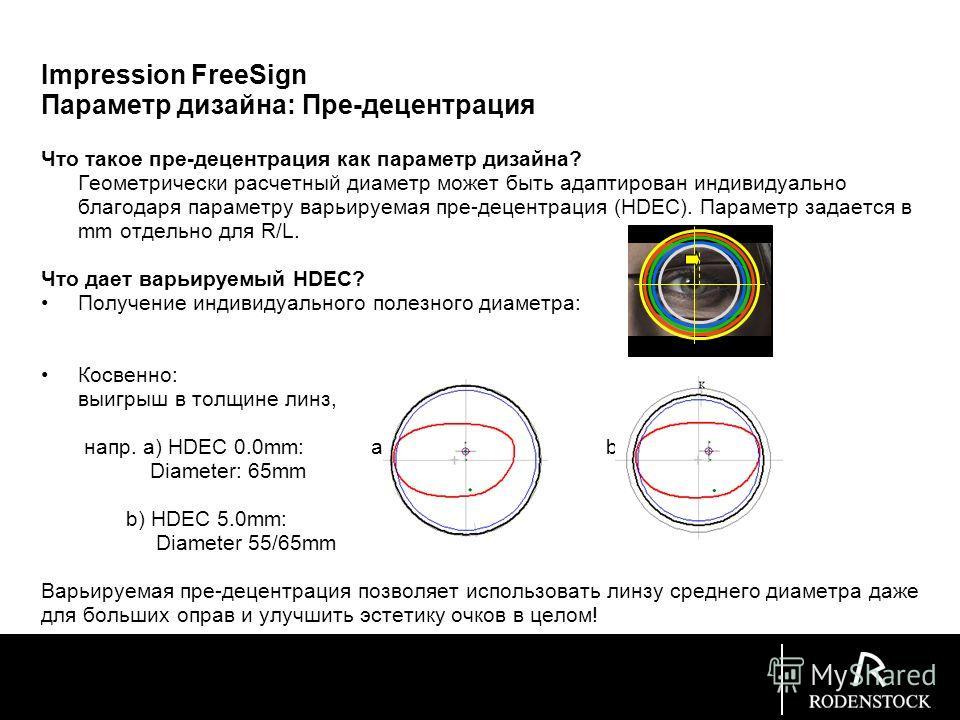 Impression FreeSign Параметр дизайна: Пре-децентрация Что такое пре-децентрация как параметр дизайна? Геометрически расчетный диаметр может быть адаптирован индивидуально благодаря параметру варьируемая пре-децентрация (HDEC). Параметр задается в mm