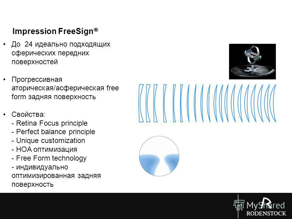 До 24 идеально подходящих сферических передних поверхностей Прогрессивная атопическая/асферическая free form задняя поверхность Свойства: - Retina Focus principle - Perfect balance principle - Unique customization - HOA оптимизация - Free Form techno