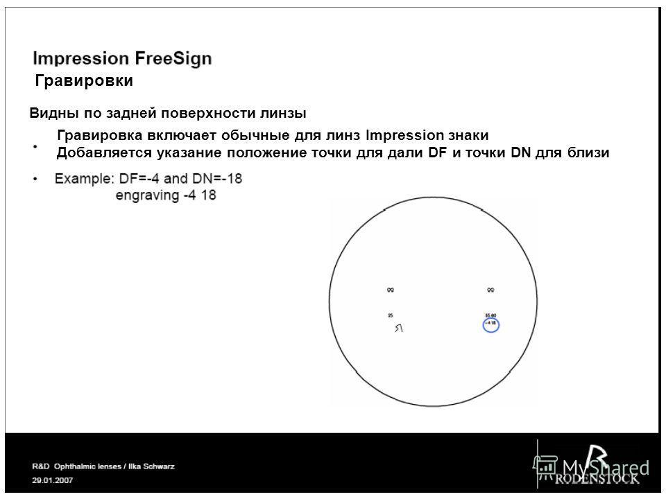 Гравировки Видны по задней поверхности линзы Гравировка включает обычные для линз Impression знаки Добавляется указание положение точки для дали DF и точки DN для близи