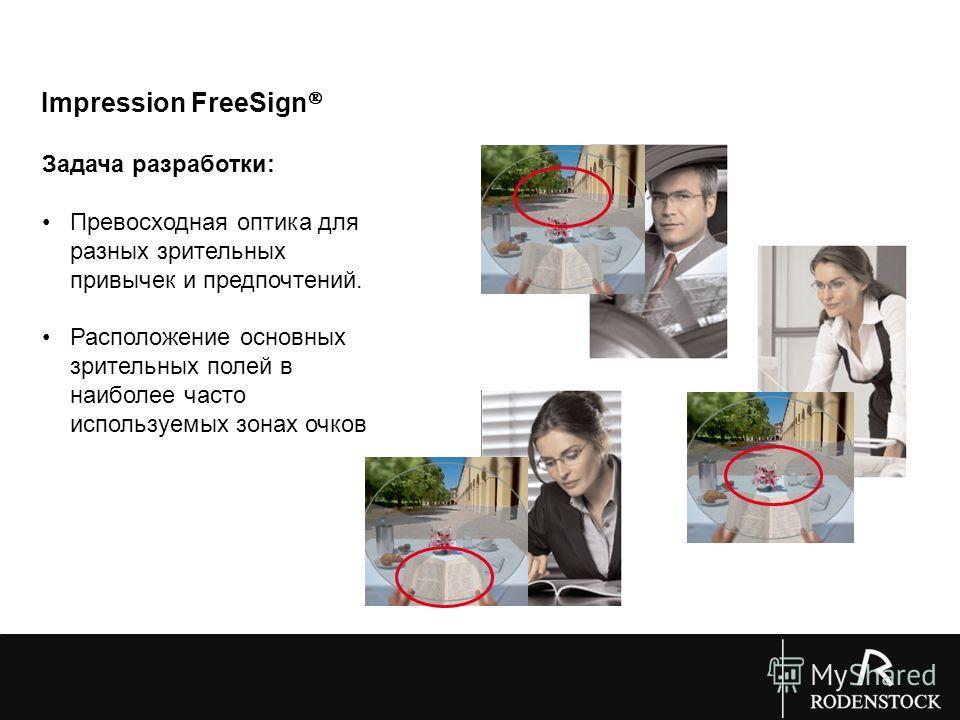 Impression FreeSign Задача разработки: Превосходная оптика для разных зрительных привычек и предпочтений. Расположение основных зрительных полей в наиболее часто используемых зонах очков