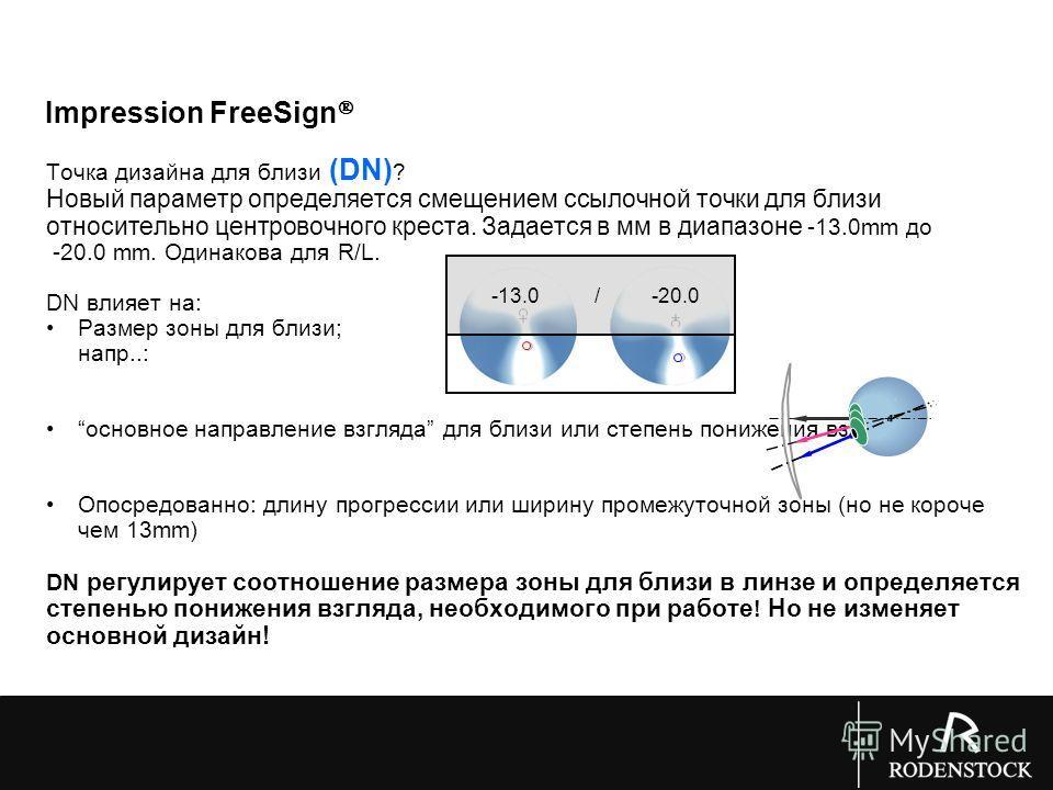 Точка дизайна для близи (DN) ? Новый параметр определяется смещением ссылочной точки для близи относительно центровочного креста. Задается в мм в диапазоне -13.0mm до -20.0 mm. Одинакова для R/L. DN влияет на: Размер зоны для близи; напр..: основное