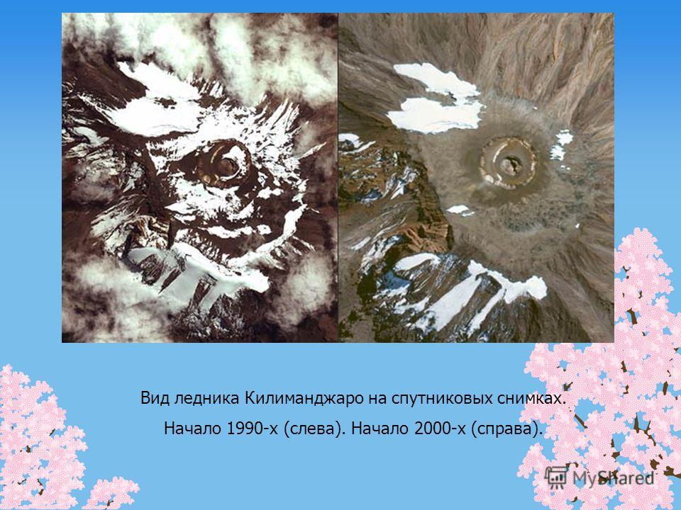 Вид ледника Килиманджаро на спутниковых снимках. Начало 1990-х (слева). Начало 2000-х (справа).