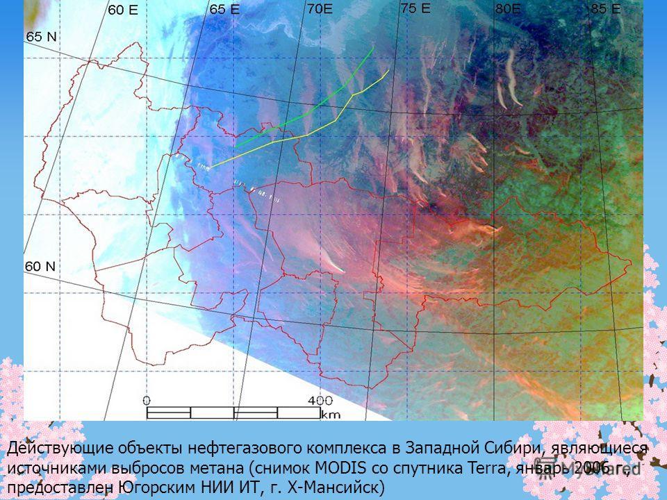 Действующие объекты нефтегазового комплекса в Западной Сибири, являющиеся источниками выбросов метана (снимок MODIS со спутника Terra, январь 2006 г., предоставлен Югорским НИИ ИТ, г. Х-Мансийск)