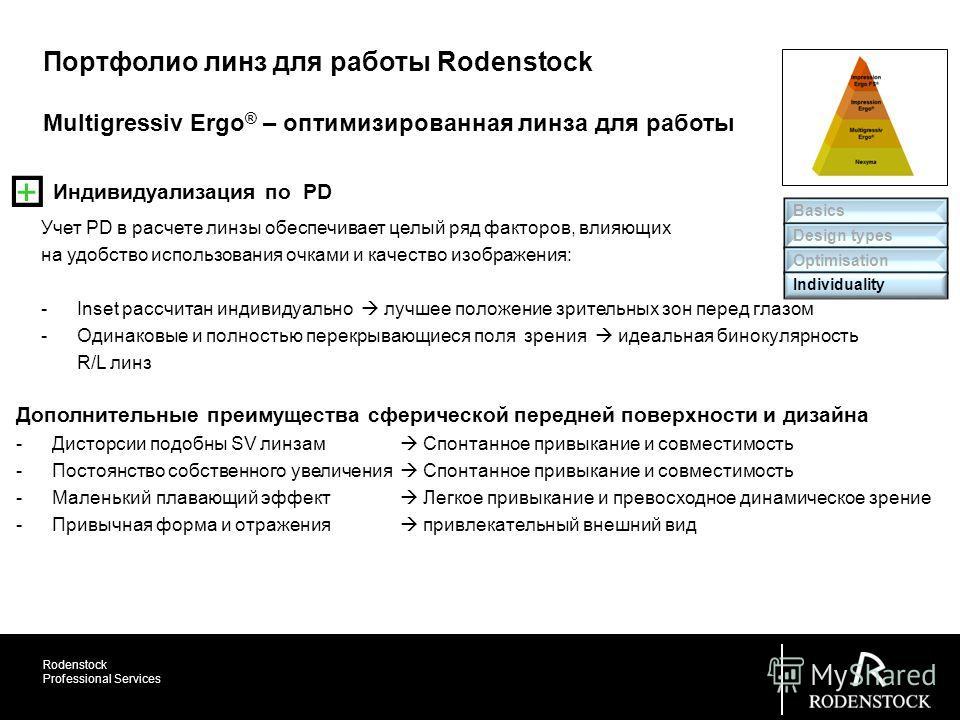 Rodenstock Professional Services Multigressiv Ergo ® – оптимизированная линза для работы Портфолио линз для работы Rodenstock Индивидуализация по PD Учет PD в расчете линзы обеспечивает целый ряд факторов, влияющих на удобство использования очками и