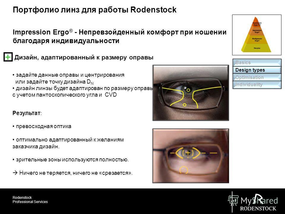 Rodenstock Professional Services задайте данные оправы и центрирования или задайте точку дизайна D N дизайн линзы будет адаптирован по размеру оправы с учетом пантоскопического угла и CVD Impression Ergo ® - Непревзойденный комфорт при ношении благод