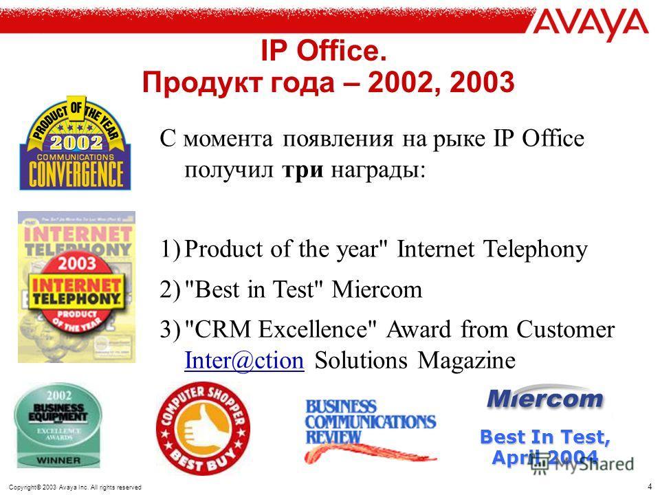 3 Copyright© 2003 Avaya Inc. All rights reserved IP Office: конвергентное решение TDM Hybrid Converged