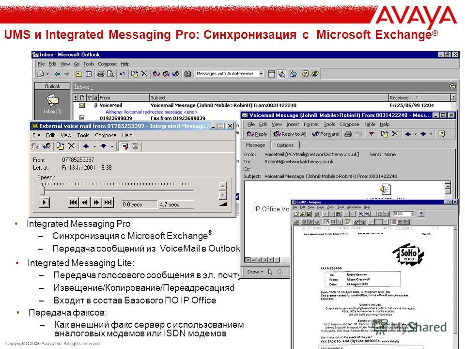 45 Copyright© 2003 Avaya Inc. All rights reserved IP Office VoiceMail Pro: менеджер очередей вызовов ТфОП IP Office Voicemail Pro Server Avaya IP Office уведомление о звонке, ожидающем в очереди вызов