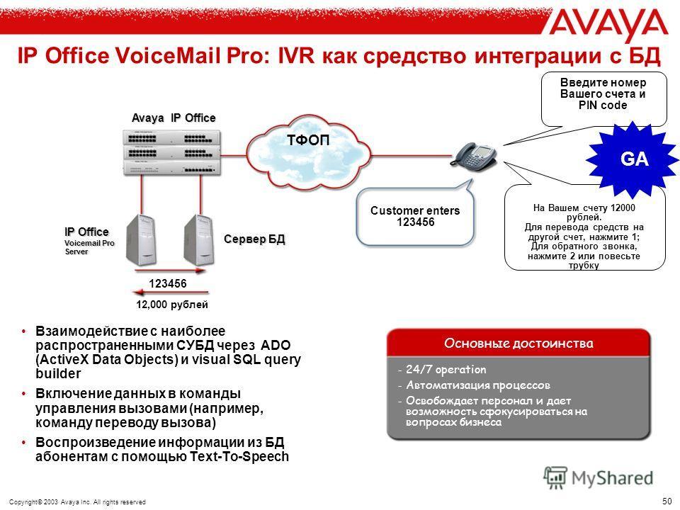 49 Copyright© 2003 Avaya Inc. All rights reserved Интеграция Text to Speech (TTS) в векторы обработки вызовов (Call Flows) VoiceMail Pro Пользовательский интерфейс VoiceMail Pro имеет иконку функция Text To Speech (TTS), данная функция может вызывать