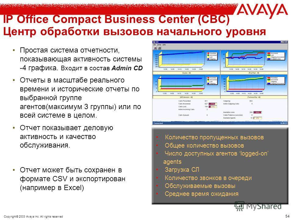 53 Copyright© 2003 Avaya Inc. All rights reserved IP Office – ЦОВ и контакт центр Compact Business Center VoiceMail Lite (Базовое ПО IP Office) ССС Система отчетности Отчет в реальном времени Исторические отчеты Multimedia СС (Email, Web- chat, Web C