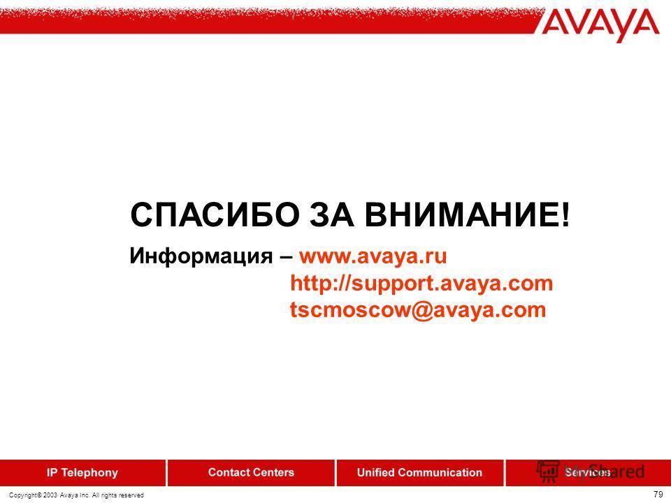78 Copyright© 2003 Avaya Inc. All rights reserved IP Office - Compact Contact Center (CCC) British Airways Moscow Произведена замена старой системы iSDX фирмы GPT с функциями Call Center на систему IP- Office 403 ver.2.1 в Московском представительств