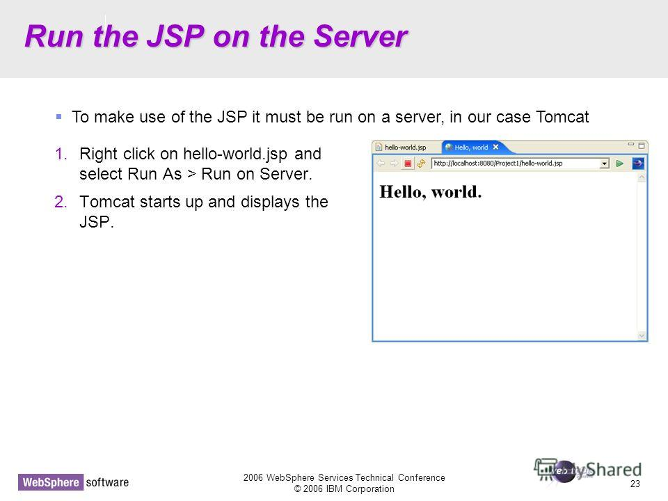 D14 2006 WebSphere Services Technical Conference © 2006 IBM Corporation 23 Run the JSP on the Server 1. Right click on hello-world.jsp and select Run As > Run on Server. 2. Tomcat starts up and displays the JSP. To make use of the JSP it must be run