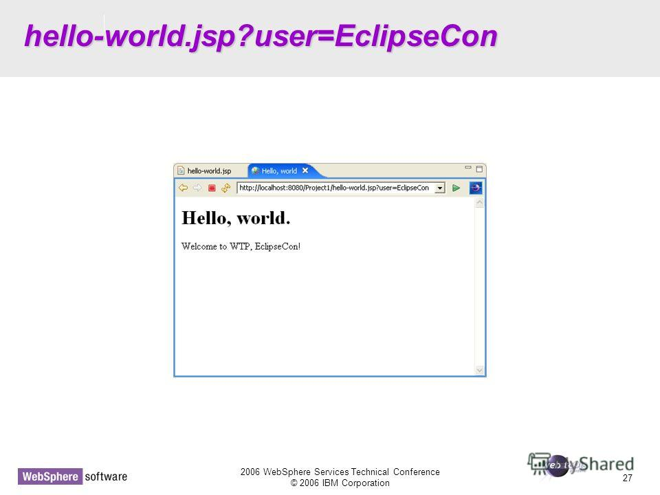 D14 2006 WebSphere Services Technical Conference © 2006 IBM Corporation 27 hello-world.jsp?user=EclipseCon