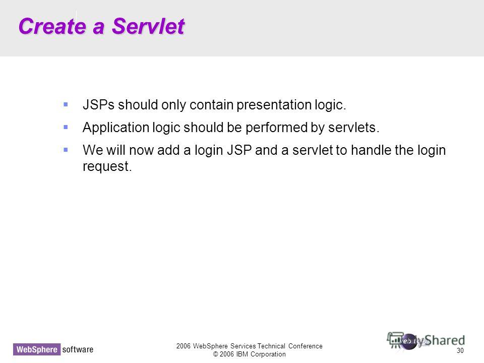 D14 2006 WebSphere Services Technical Conference © 2006 IBM Corporation 30 Create a Servlet JSPs should only contain presentation logic. Application logic should be performed by servlets. We will now add a login JSP and a servlet to handle the login