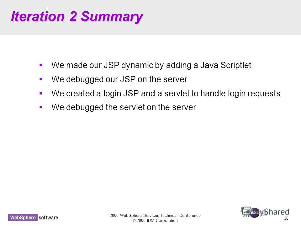 D14 2006 WebSphere Services Technical Conference © 2006 IBM Corporation 36 Iteration 2 Summary We made our JSP dynamic by adding a Java Scriptlet We debugged our JSP on the server We created a login JSP and a servlet to handle login requests We debug