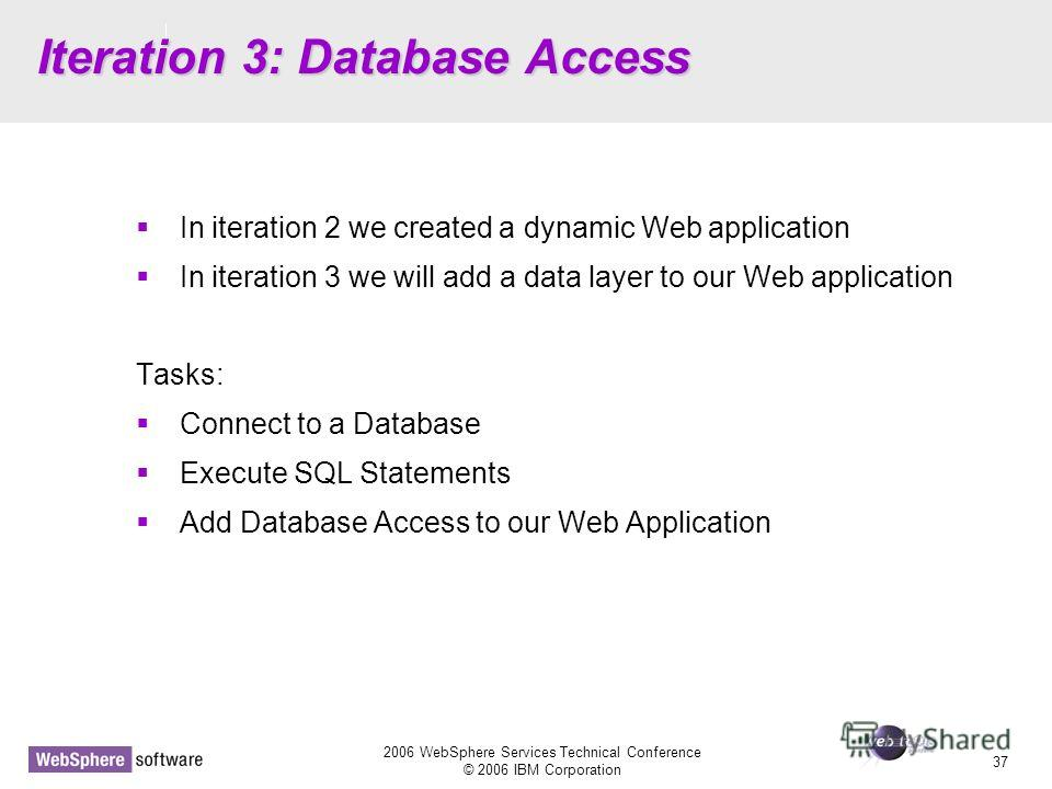 D14 2006 WebSphere Services Technical Conference © 2006 IBM Corporation 37 Iteration 3: Database Access In iteration 2 we created a dynamic Web application In iteration 3 we will add a data layer to our Web application Tasks: Connect to a Database Ex