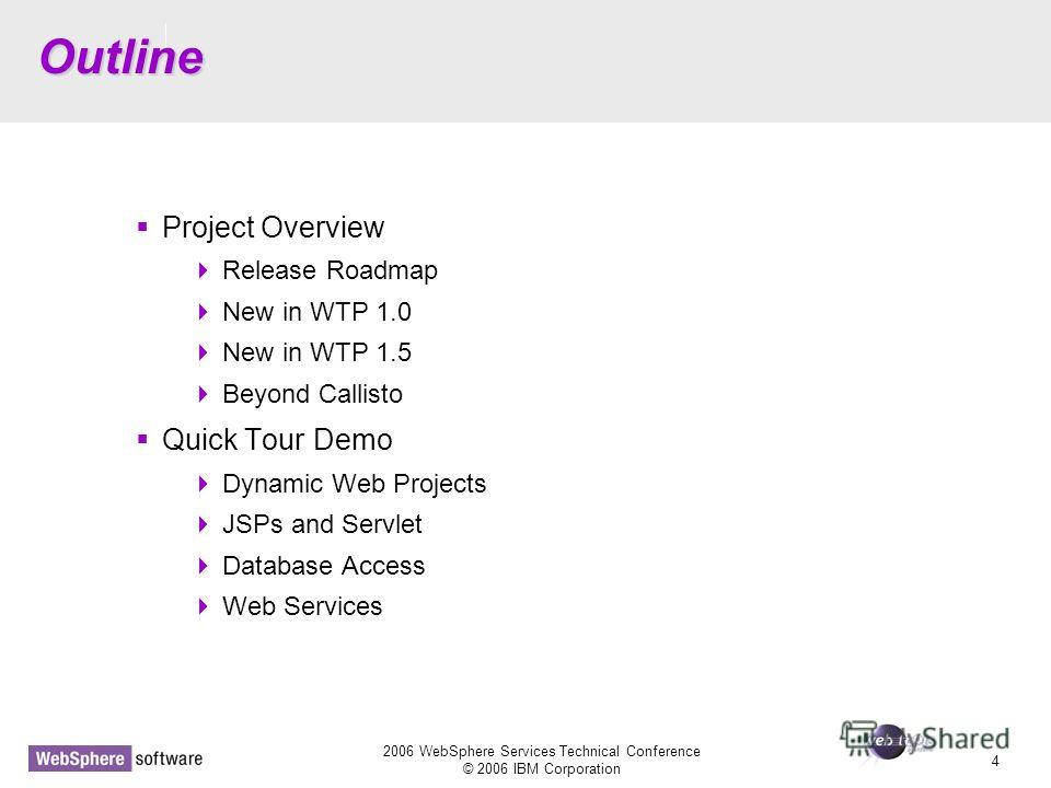 D14 2006 WebSphere Services Technical Conference © 2006 IBM Corporation 4 Outline Project Overview Release Roadmap New in WTP 1.0 New in WTP 1.5 Beyond Callisto Quick Tour Demo Dynamic Web Projects JSPs and Servlet Database Access Web Services