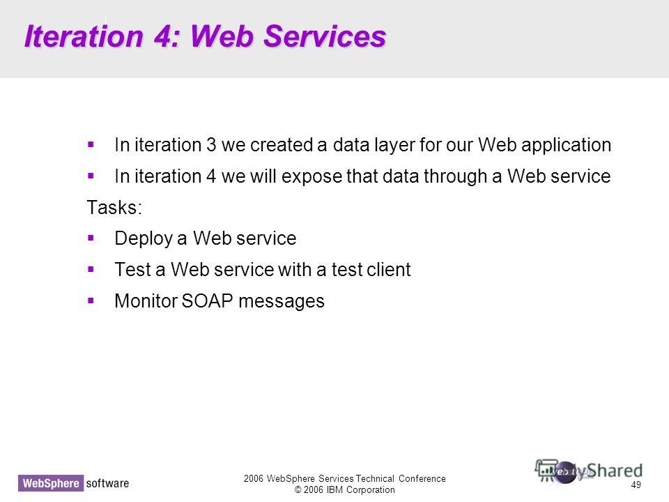 D14 2006 WebSphere Services Technical Conference © 2006 IBM Corporation 49 Iteration 4: Web Services In iteration 3 we created a data layer for our Web application In iteration 4 we will expose that data through a Web service Tasks: Deploy a Web serv