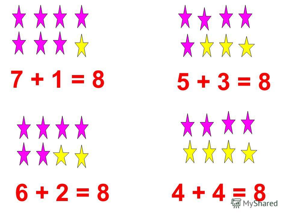 7 + 1 = 8 6 + 2 = 8 5 + 3 = 8 4 + 4 = 8