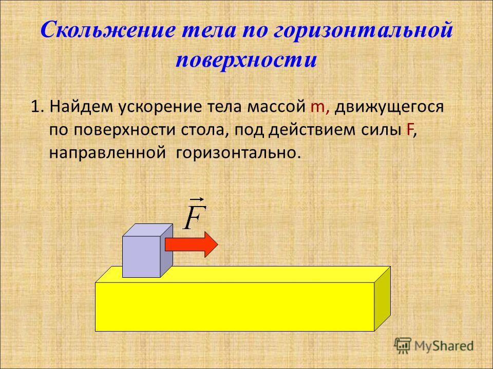 Скольжение тела по горизонтальной поверхности 1. Найдем ускорение тела массой m, движущегося по поверхности стола, под действием силы F, направленной горизонтально.