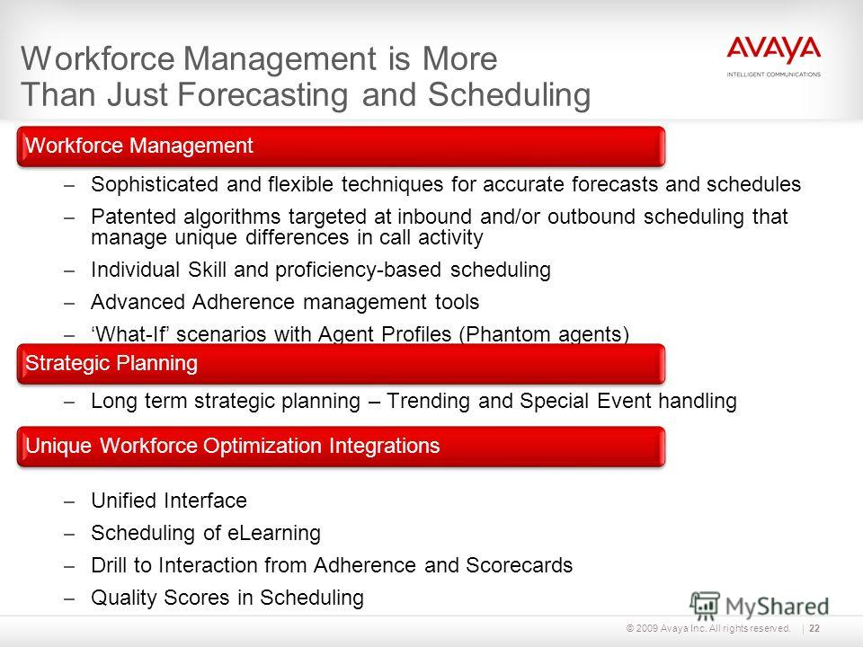 © 2009 Avaya Inc. All rights reserved. Workforce Management is More Than Just Forecasting and Scheduling Workforce Management – Sophisticated and flexible techniques for accurate forecasts and schedules – Patented algorithms targeted at inbound and/o