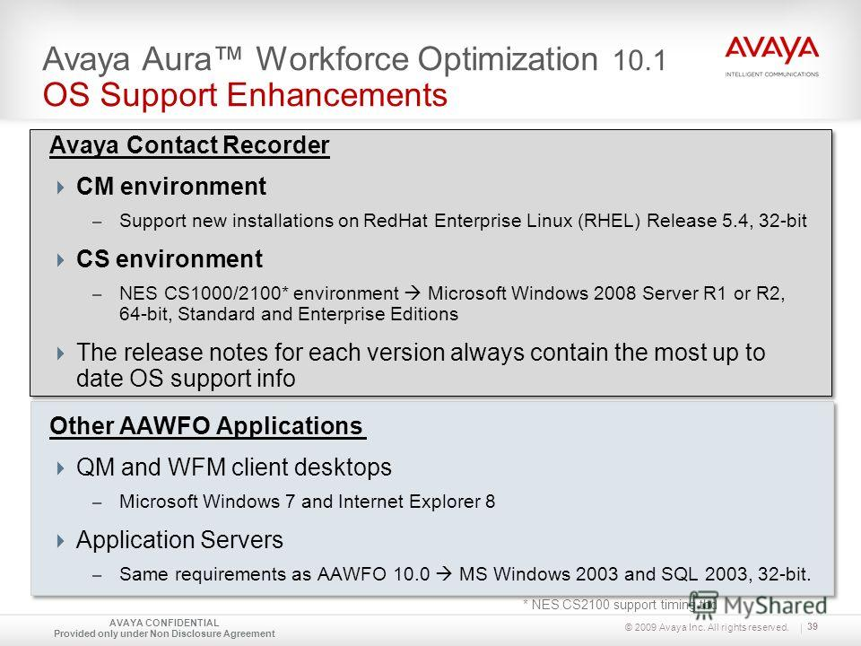 © 2009 Avaya Inc. All rights reserved. Avaya Contact Recorder CM environment – Support new installations on RedHat Enterprise Linux (RHEL) Release 5.4, 32-bit CS environment – NES CS1000/2100* environment Microsoft Windows 2008 Server R1 or R2, 64-bi