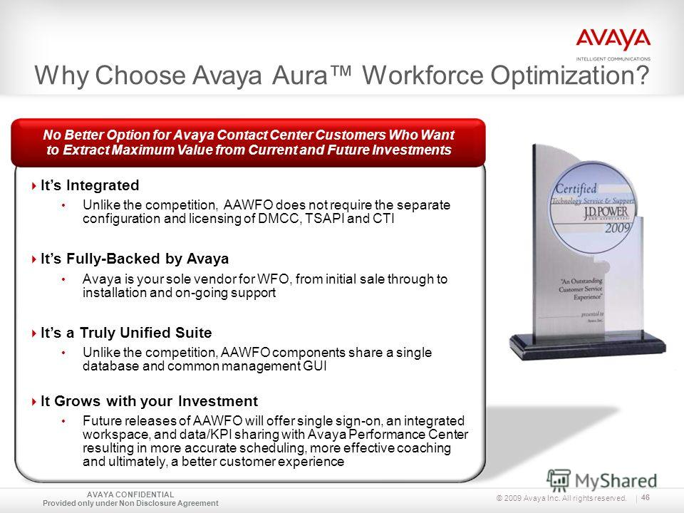 © 2009 Avaya Inc. All rights reserved. Its Integrated Unlike the competition, AAWFO does not require the separate configuration and licensing of DMCC, TSAPI and CTI Its Fully-Backed by Avaya Avaya is your sole vendor for WFO, from initial sale throug