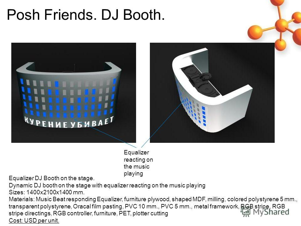Equalizer DJ Booth on the stage. Dynamic DJ booth on the stage with equalizer reacting on the music playing Sizes: 1400x2100x1400 mm. Materials: Music Beat responding Equalizer, furniture plywood, shaped MDF, milling, colored polystyrene 5 mm., trans