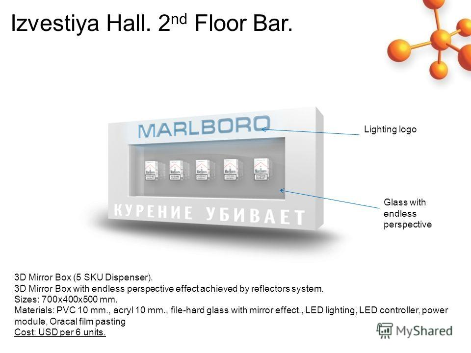 Izvestiya Hall. 2 nd Floor Bar. Lighting logo Glass with endless perspective 3D Mirror Box (5 SKU Dispenser). 3D Mirror Box with endless perspective effect achieved by reflectors system. Sizes: 700 х 400 х 500 mm. Materials: PVC 10 mm., acryl 10 mm.,