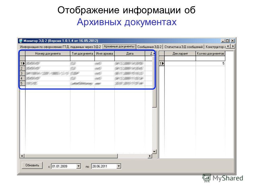 Отображение информации об Архивных документах