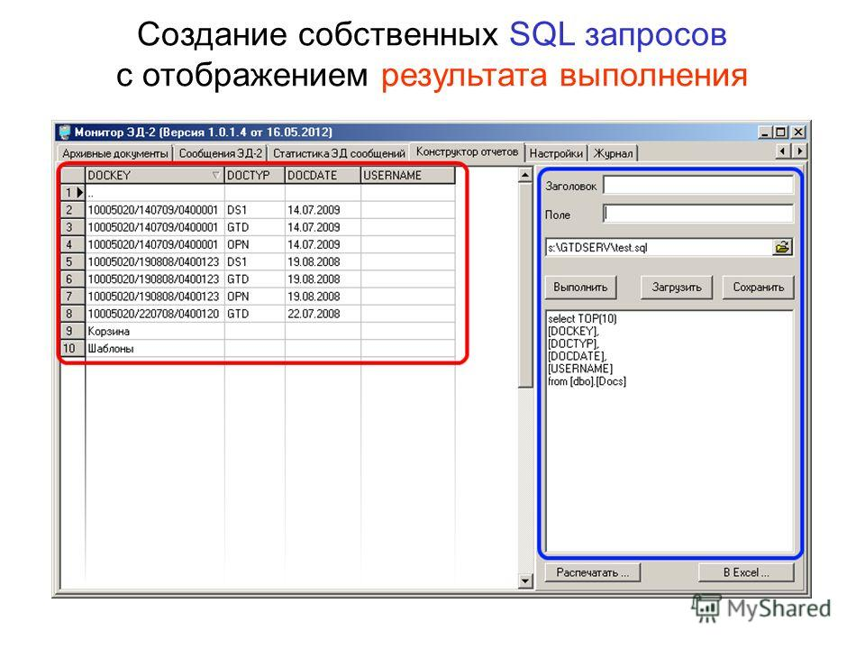 Создание собственных SQL запросов с отображением результата выполнения