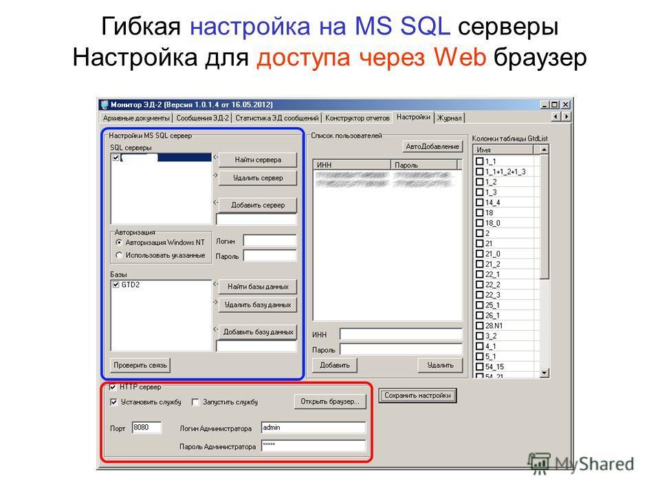 Гибкая настройка на MS SQL серверы Настройка для доступа через Web браузер