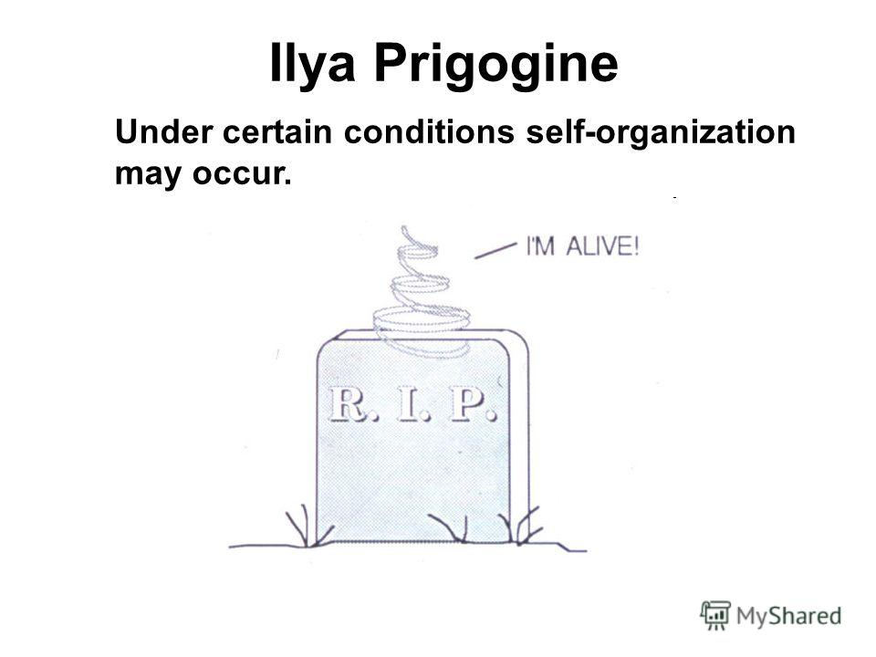 Ilya Prigogine Under certain conditions self-organization may occur.