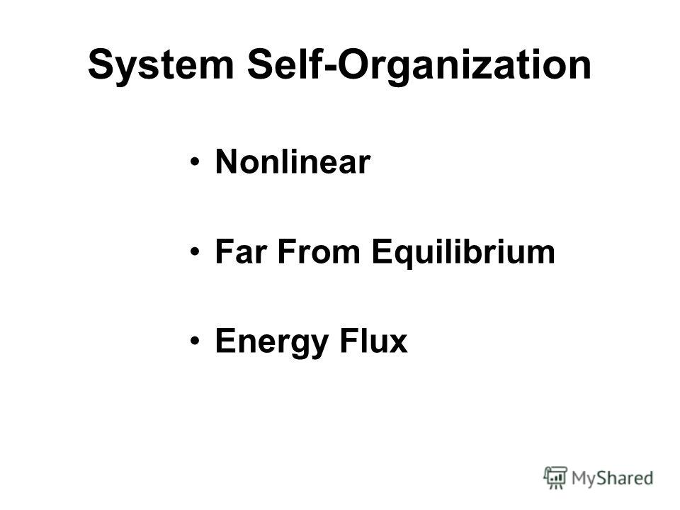 System Self-Organization Nonlinear Far From Equilibrium Energy Flux