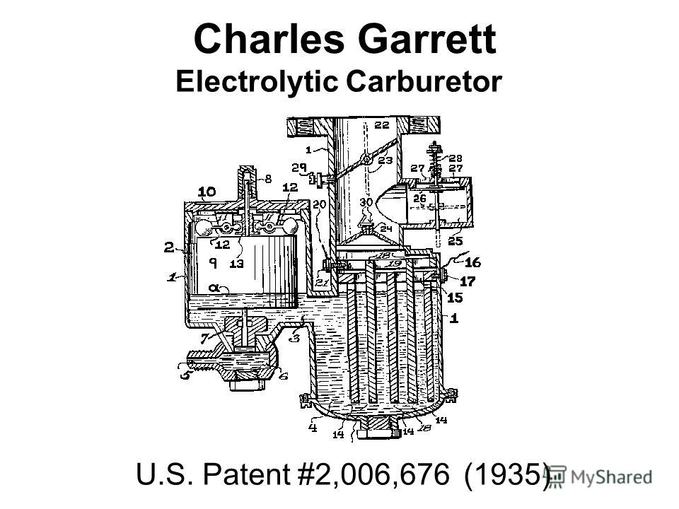Charles Garrett Electrolytic Carburetor U.S. Patent #2,006,676 (1935)