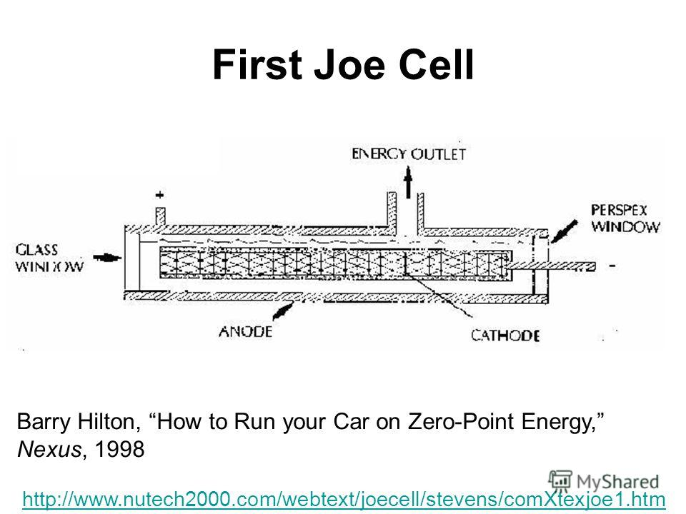 First Joe Cell http://www.nutech2000.com/webtext/joecell/stevens/comXtexjoe1. htm Barry Hilton, How to Run your Car on Zero-Point Energy, Nexus, 1998