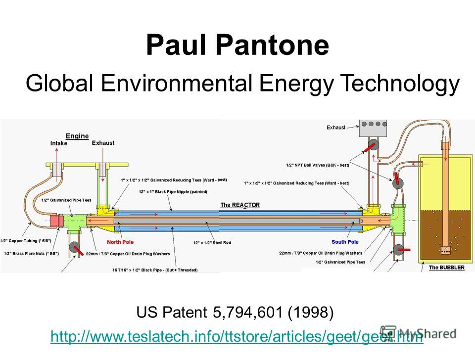 Paul Pantone http://www.teslatech.info/ttstore/articles/geet/geet.htm Global Environmental Energy Technology US Patent 5,794,601 (1998)